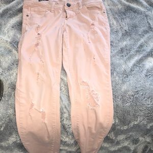 Denim - cute pink rip skinny jeans